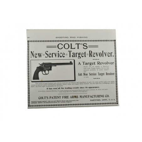 Shooting and Fishing Magazine Advertisement for Colt New Service Target Revolver (MIS1143)