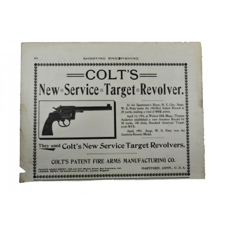 Shooting and Fishing Advertisement for Colt New Service Target Revolver (MIS1142)