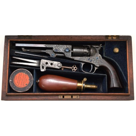Factory Engraved Colt 1862 Pocket Navy Revolver With Checkered Rammer (C13554)