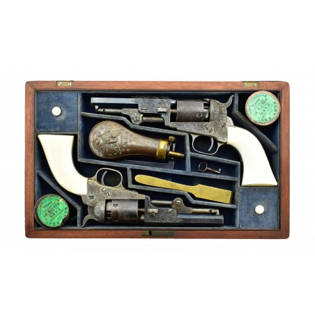 Beautiful Double Cased Set of Factory Engraved Colt 1849 Pocket Revolvers (C14625)