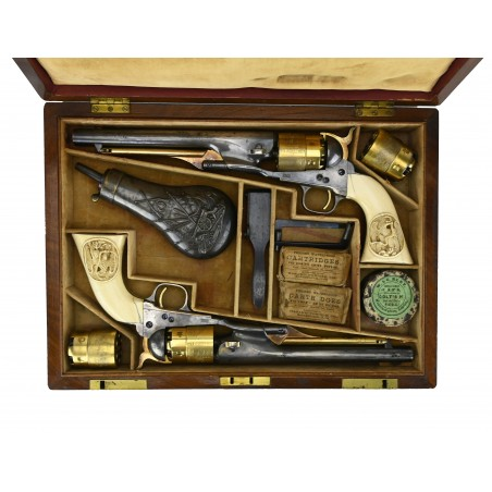 Beautiful Double Cased Set of Special Order Colt 1860 Army Pistols (AC25)