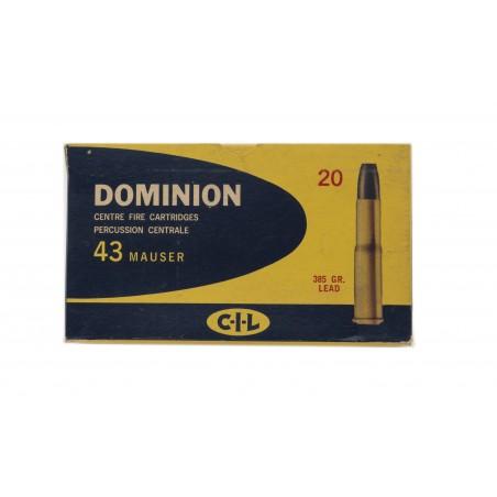 CIL Dominion .43 Mauser 385 Grain Vintage Ammunition (AM28)