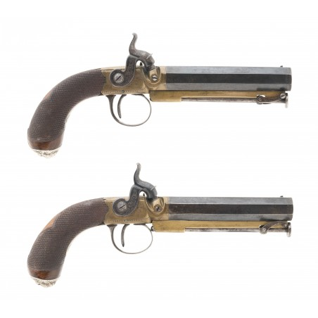 Fine Pair of Brass Frame Percussion Pistols By Hollis (AH6340)