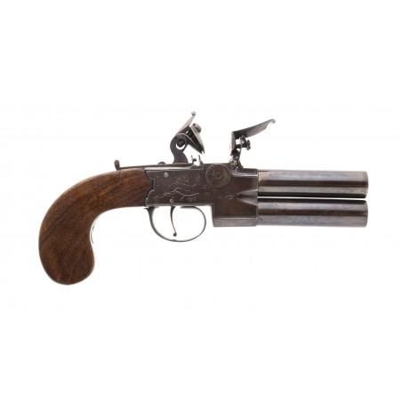 English Large Size Tap Action Over/Under Flintlock Pistol (AH2795)