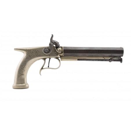 English Saw Handle Percussion Pistol by Manton (AH6502)